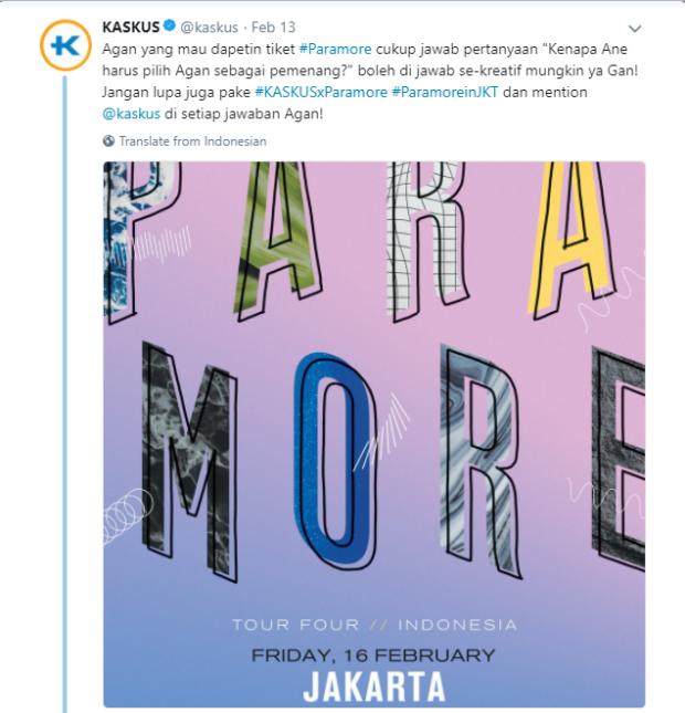 Kuis Tiket Paramore dari Kaskus