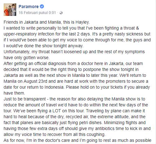 Pemberitahuan Batalnya Konser Paramore Di Indonesia dan Manila