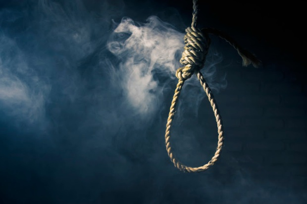 high contrast image of a hangman's noose