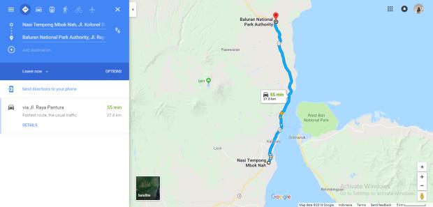 Jarak dari Warung Nasi Tempong Mbok Nah ke Gerbang Taman Nasional Baluran
