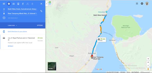 Jarak Dari Watu Dodol ke Warung Nasi Tempong Mbok Nah